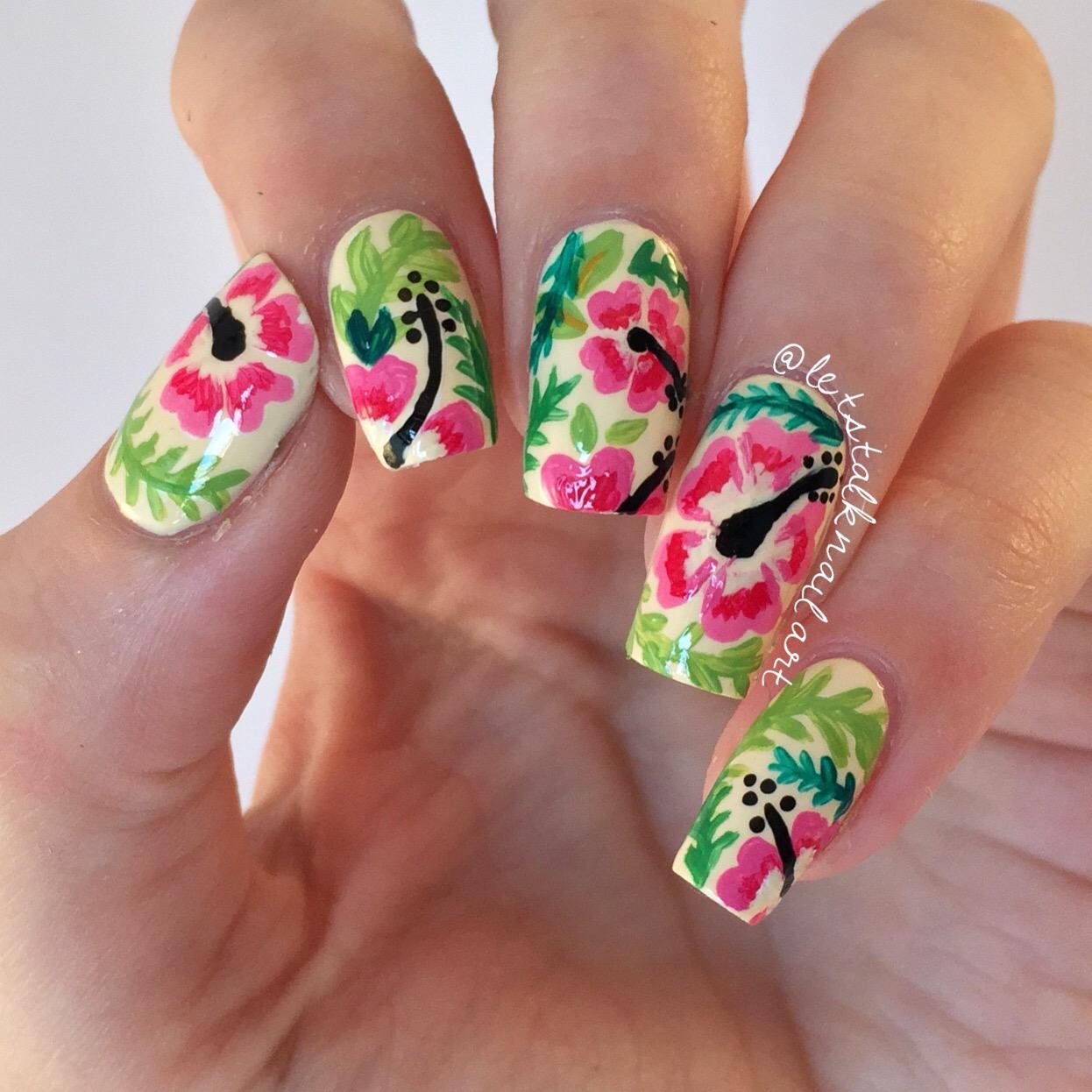 Hawaiian Hibiscus Nail Art Lets Talk Nail Art